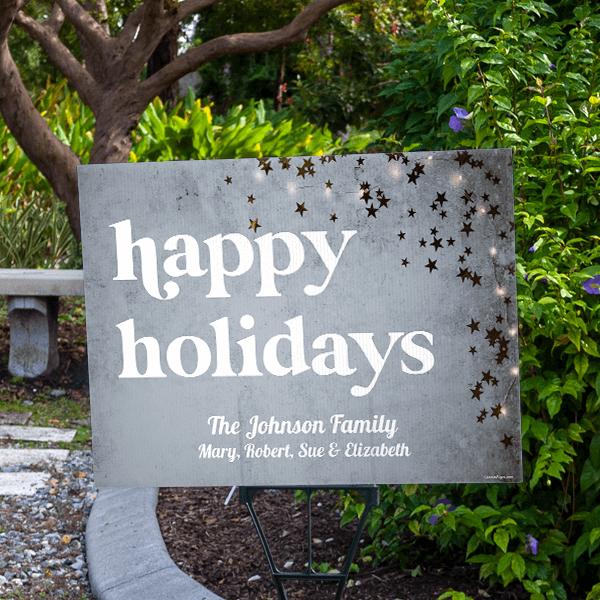 Happy Holidays Gold Star Holiday Yard Sign