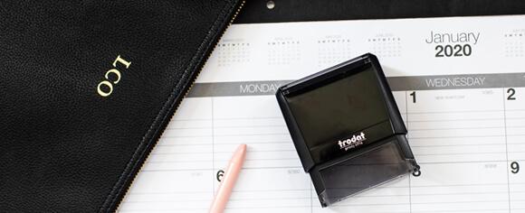 Stamp, Calendar, and Bag