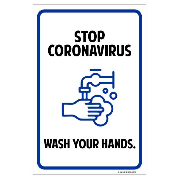 Stop Coronavirus - Wash Your Hands Sign - Featuring Handwashing Symbol