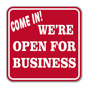Engraved Come In We're Open Sign