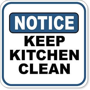 Notice Keep Kitchen Clean Sign