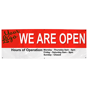 We Are Open Banner with Hours