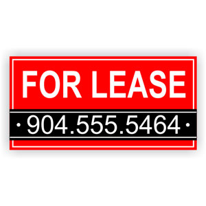 Red Custom Phone Number For Lease Banner
