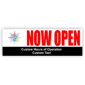 Now Open with Hours banner