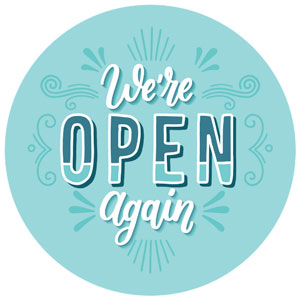 We're Open Again Vinyl Business Decal