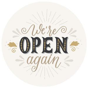 We're Open Again Window Decal