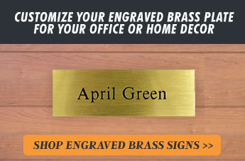 Customize Your Engraved Brass Plate for Your Office or Home Decor, Shop Engraved Brass Signs