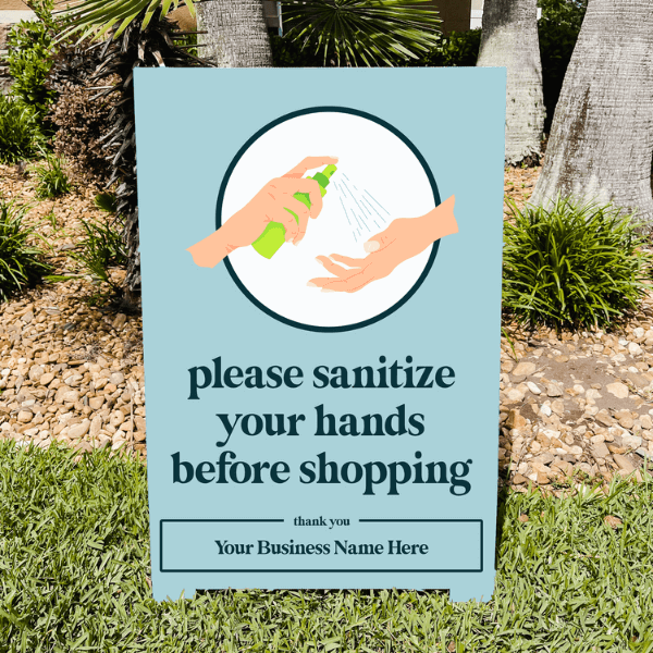Please Sanitize Before Shopping Outdoor A-Frame Sign