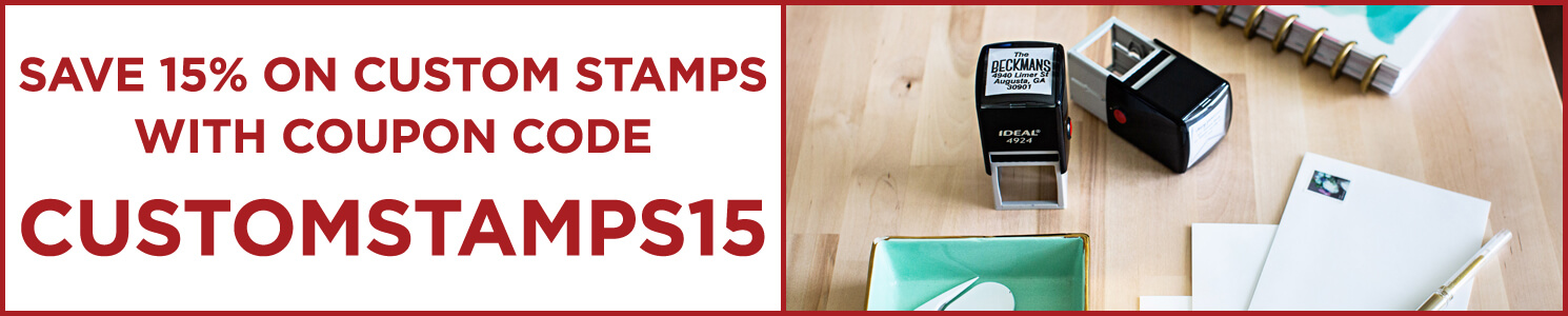 Save on Rubber Stamps with Code customstamps15