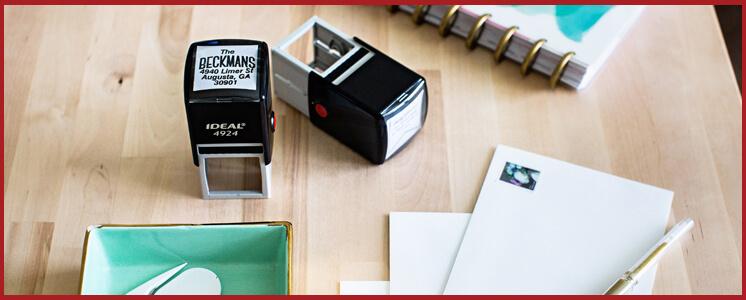 Address Stamp on a Desk