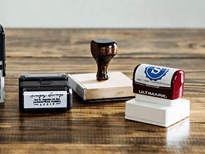 Selection of Rubber Stamps on a Table