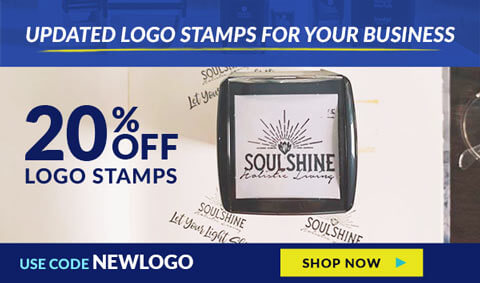 20% Off Logo Stamps, Use Code NEWLOGO