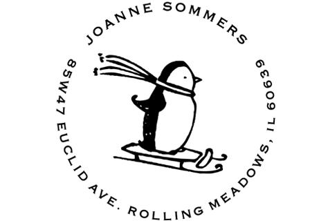 sledding penguin address stamp