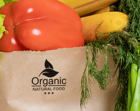 Custom Logo Stamp on paper grocery bag