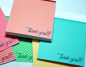 Colorful thank you cards