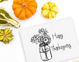 Happy Thanksgiving stamp in kitchen