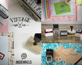 Collage of custom stamp images with stamp impressions