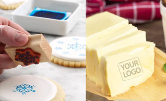 rubber stamps impression on food and cookies