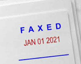 Faxed Stamp with Date Imprint on Paper