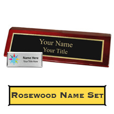 Custom Rosewood Finish Desk Name Plate and Plastic Name Tag
